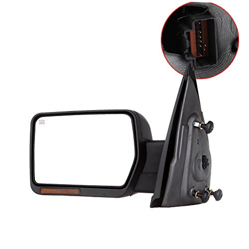 SCITOO Towing Mirrors, fit Ford Exterior Accessories Mirrors fit 2007-2014 Ford F-150 Truck Amber Turn Signal Puddle Light Heated Power Controlling Manual Folding (Driver Side)