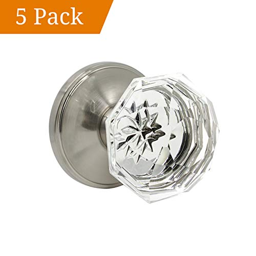 Crystal Passage Door Knobs Interior,5 Pack Crystal Style Door Knob, Passage Hall/Closet Function, Satin Nickel,Pantry Door Handle,Frosted Glass Design,Diamond Door Lock Set