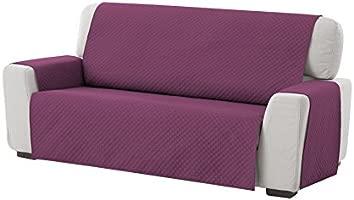 textil-home Funda Cubre Sofá Adele, 3 Plazas, Protector para Sofás Acolchado Reversible. Color Malva