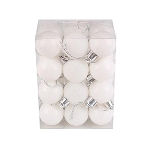 Hot Sale!! Christmas Tree Decor Ball,Lelili Fantastic 24Pcs Xmas Hanging Decor Ball Home Party Tree Ornament Decor (30mm, White) (Tree Sale Christmas Decoration)