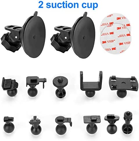Dash Cam Suction Cup Mount – for AUKEY, Crosstour, TOGUARD, APEMAN, YI 2.7 , Z-Edge Z3 3 and Most Other Dash Cam. with 16 Different Points, 3 x Glue Double Sided Adhesive Tapes, 3 Wipes Dry and Wet
