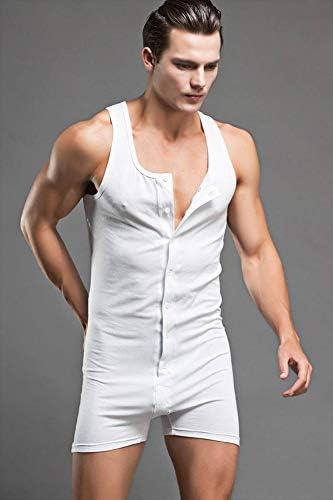 男性のスーツの綿のメンズノースリーブonesie快適なボディスーツセクシーな共同衣類のパジャマのスーツメンズセクシーなもの,グレー,XXL