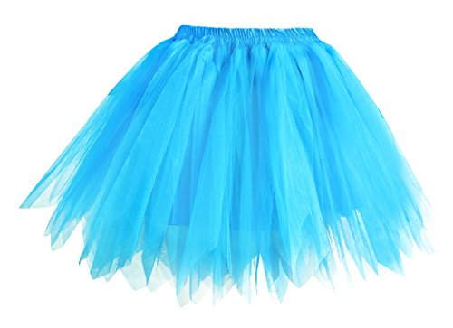 Plus Size Tutus Halloween (V28 Women's Teen's 1950s Vintage Tutu Tulle Petticoat Ballet Bubble Skirt (Plus Size (US: 10-18), Blue))