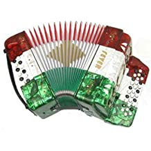 Fever F3112-MX Button Accordion 31 Keys, 12 Bass on GCF Key, Red, White, Green