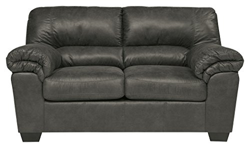 - Ashley Furniture Signature Design - Bladen Contemporary Plush Upholstered Loveseat - Slate Gray