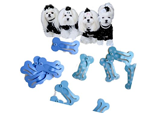 Dog Bone Clips - Bone Snap Hair Clip for Maltese Yorkie - Set of 12 Free TOP Knot Bands Blue Blue Blue Colors - 1