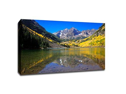 Maroon Bells Fall Foliage - Aspen Colorado - Capturing America - 36x24 Gallery Wrapped Canvas Wall (Maroon Bells)