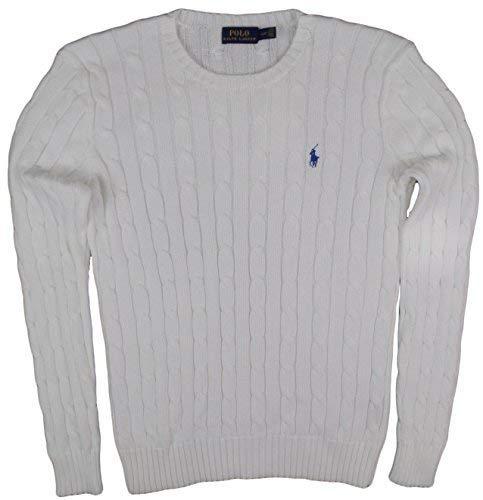 RALPH LAUREN Women's Crewneck Cable Knit Pony Logo Sweater (L  White)
