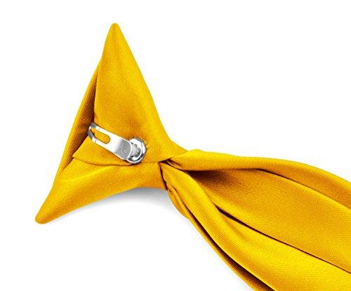 Moda Di Raza - Boy's NeckTie Solid Clip on Polyester Tie - Boys' Kids' Children's Solid Color Boys Formal Wear Pre-Tied Polyester Clip Necktie - Golden -