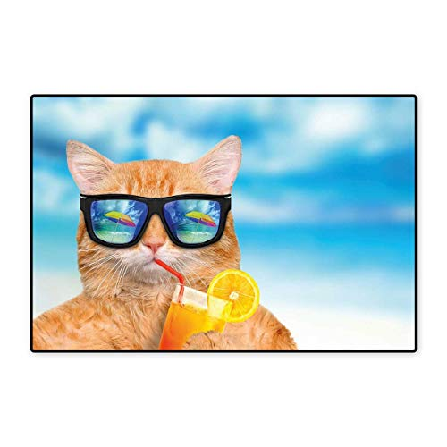 - Funny Floor Mat for Kids Cat Wearing Sunglasses Relaxing Cocktail in The Sea Background Summer Kitty Image Floor Mat Pattern 32
