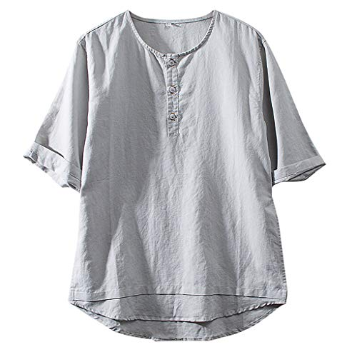 Jumaocio Men's Vintage Round Collar Chinese Style Henley Shirts Short Sleeve Tops Cotton Linen Solid Color Short Sleeve Breath T Shirts Tops Blouse Gray