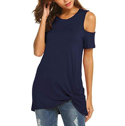 IAMUP Ladies Casual Short Sleeve Tops Strapless Solid Elegant T-Shirt Loose Soild O Neck Top Blouse Navy by IAMUP (Image #1)