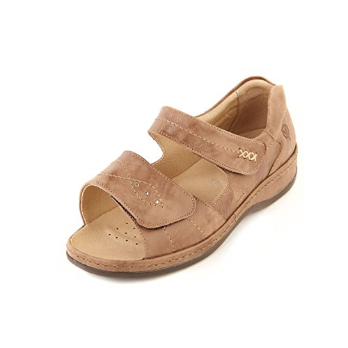 Sandpiper Women's Sandal 'Cilla' | Extra Wide Fit 6E | Extra Long Twin Touch Fastening | Leather Lining | Back-In Heel Bark seNG9VTQvs