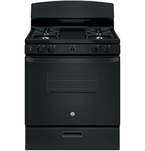 ": GE JGBS10DEKBB 30"" Gas Freestanding Range with 4 Open Burner Cooktop, Broiler, 4.8 cu. ft. Primary Oven Capacity, in Black"