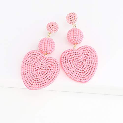 Heart Pink Statement Round Beaded Hoop Bohemia Earrings Handmade Tassel Fringe Drop Dangle Flower Chandelier Vintage Stud Earrings Gifts for Mom,Women Girls