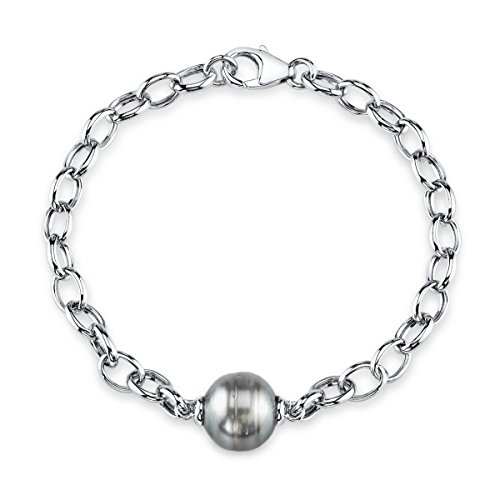 10mm Baroque Tahitian South Sea Cultured Pearl Link (Sterling Silver Tahitian Pearl Bracelet)
