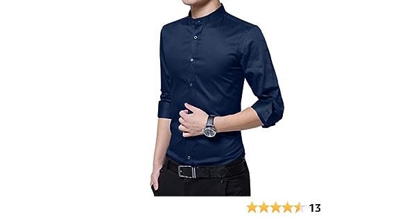 HiLY - Camisa de manga larga para hombre con cuello de tira ...