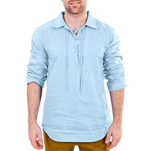 FONMA Men's Baggy Cotton Linen Solid Long Sleeve Drawsting Retro T Shirts Tops Blouses Blue