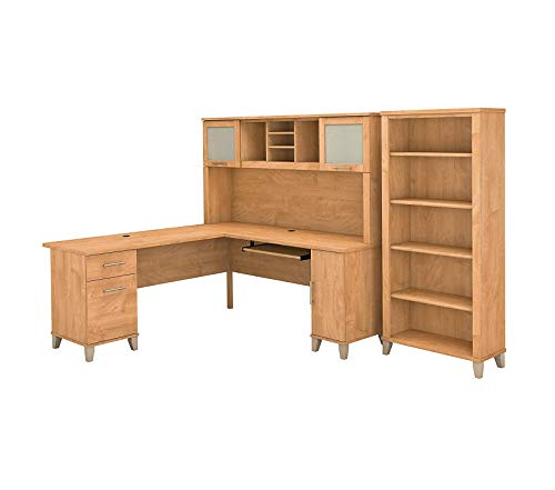 Wood & Style Furniture 72W L Shaped Desk with Hutch and 5 Shelf Bookcase in Maple Cross Premium Office Home Durable Strong