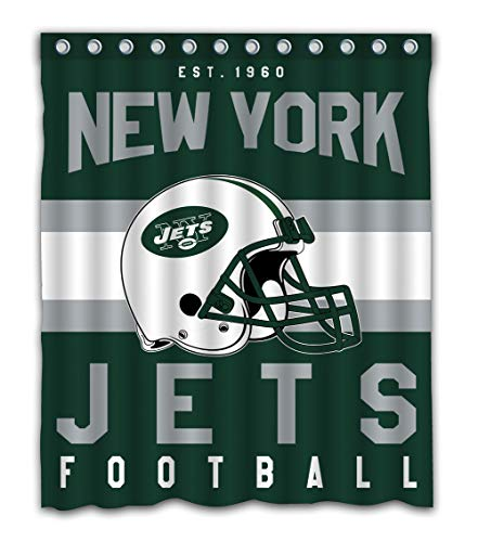 Weckim Custom New York Football Team Waterproof Fabric Shower Curtain Colorful Design for Bathroom Decor 12 Holes Size 60x72 ()