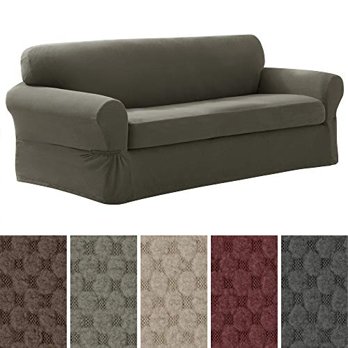 Loveseat Slipcover Box Cushion - MAYTEX Pixel Ultra Soft Stretch 2 Piece Sofa Furniture Cover Slipcover, Dusty Olive Green