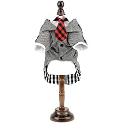 SMALLLEE_LUCKY_STORE Dog Tuxedo Costume Plaid Tie Suits Shirt Outfits, Grey (XY000347-gray-M)