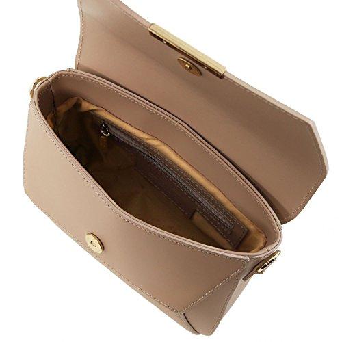 Tuscany Leather TL Bag - Bolso noche en piel Ruga - TL141584 (Violeta) Dark Taupe