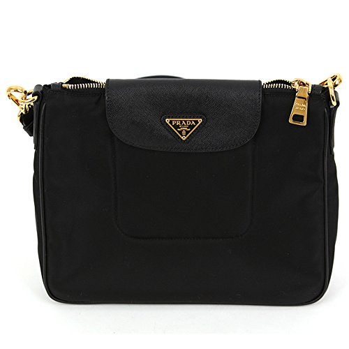 Prada BT0933 Nero Black Tessuto Saffian Nylon and Leather Crossbody Messenger Bag (Handbag Nylon Prada)