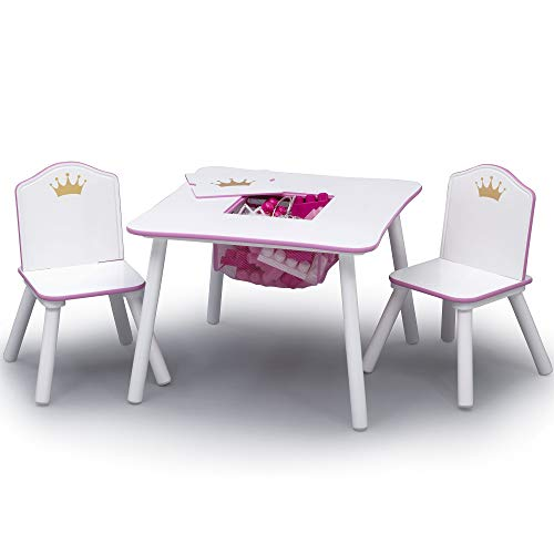 (Super Adorable,Fun and Durable Delta Children Princess Crown Kids Table and Chair Set with Storage, White/Pink)