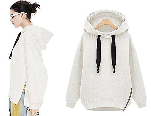 Sweatshirts Bianco Moda Lunga Felpe Con Cappuccio Donne Giacche Autunno Manica Hoodied Inverno Minetom Cappotti OTwtHqc