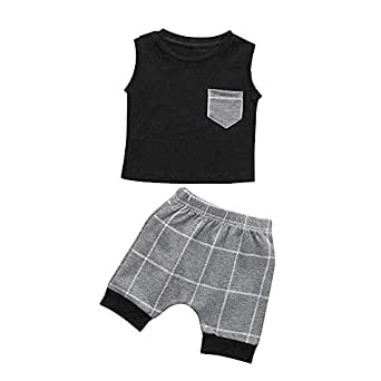 Nwada Newborn Baby Boy Clothes Toddler Boys Outfits Sets 2pcs Vest Tops and Shorts Infant Summer Clothing - Black - 3-4 Years