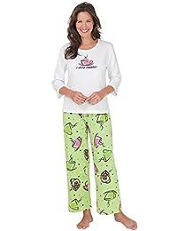 PajamaGram Women's I Need Coffee Cotton Pajamas, Green