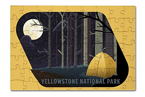Yellowstone National Park, Wyoming - Camping by Cliffside - Pop Sky - Contour 98335 (8x12 Premium Acrylic Puzzle, 63 Pieces) (Cliffside Framed)