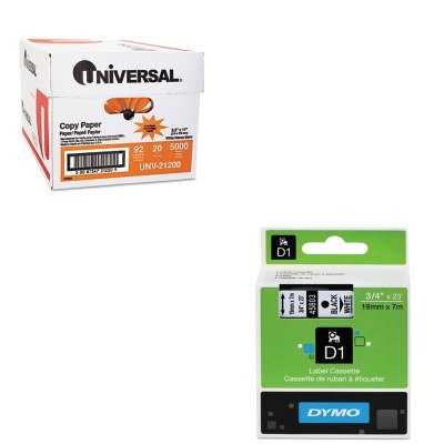 KITDYM45803UNV21200 - Value Kit - Dymo D1 Standard Tape Cartridge for Dymo Label Makers (DYM45803) and Universal Copy Paper (UNV21200)