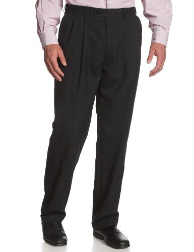Louis Raphael LUXE Men's 100% Wool Pleated Dress Pant with Hidden Extension Waist Band,Black,30x30