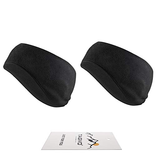 TAGVO Winter Headband Ear Warmer Lightweight, Made of Warm Cozy Fleece Material with Full Cover Ear Muffs, Stretch to Size Non-Bulky Snug Fit for Adults Men Women for Sport & Casual Wear (Black)