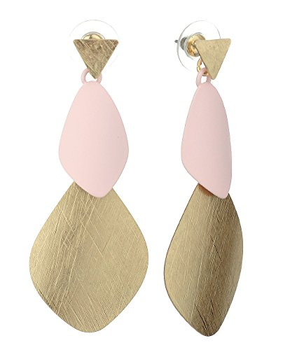 Women's Matte and Metal Geometric Rounded Diamond Shape Pierced Dangle Earrings, Light Pink