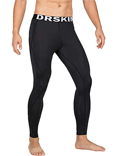 DRSKIN Compression Cool Dry Sports Tights Pants Baselayer Running Leggings Yoga Rashguard Men (2S, DABB11)
