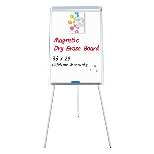 Easel White Board - Magnetic Tripod Whiteboard Portable Dry Erase Board 36x24 inches Flipchart Easel Board Height Adjustable, Portable White Board