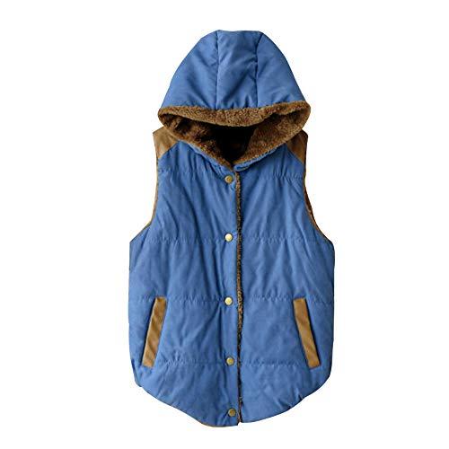 ZEVONDA Womens Sleeveless Fleece Jacket Vest - Slim Waistcoat Vest Jacket Button Hooded Winter Gilet Blue