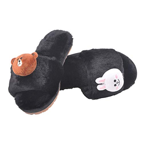 Slippers Girls's Bear Shoes Winter Plush Flops Flip Cute and Duck Fur Sandals Flats Women Slides Black Home Warm w1Yqq