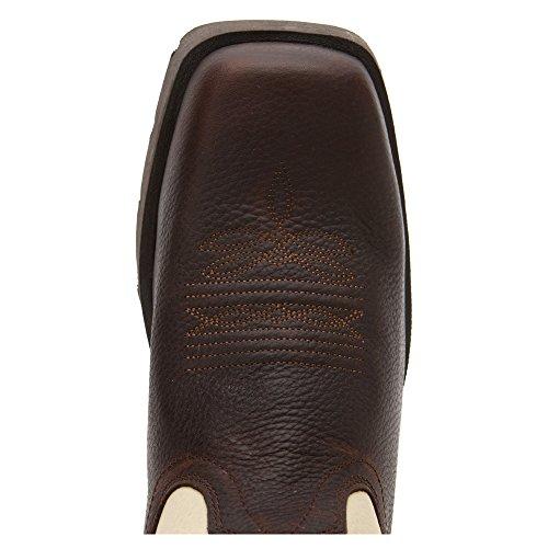 John Deere Mens 10 Pull On Square Toe Western Boot Da Lavoro Marrone Scuro / Osso