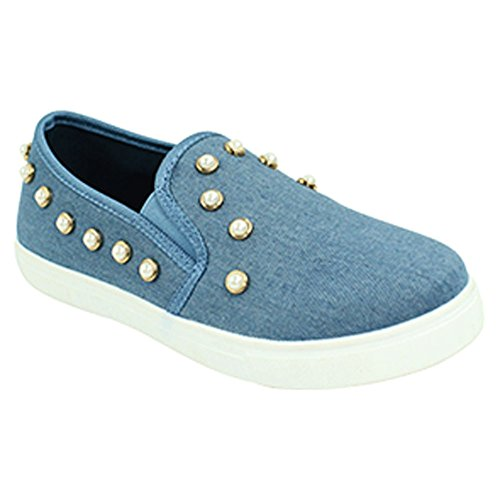 Platform Denim Blue (Best Pearl Denim Rhinestone Womens Fashion Sneakers Closed Platform Rubber Sole Flat Slipon Casual Walking Fun Cute Christmas Party Bedazzled Shoe Loafer 2018 for Sale Ladies Teen Girl (Size 8, Denim))