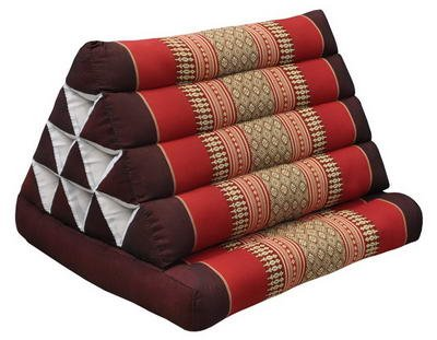 Thai triangle cushion with 1 folding seat, burgundy/red, relaxation, beach, pool, meditation, yoga, (82301) by Wilai GmbH