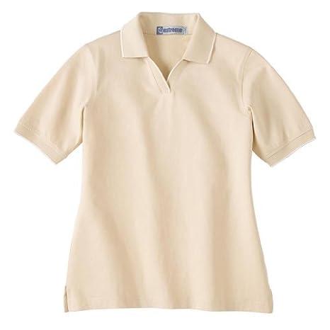 Ash City Ladies Johnny collar polo Shirt with Pencil Stripe ...
