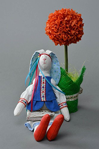Handmade Designer Linen and Cotton Soft Toy Rabbit Girl in Traditional Costume