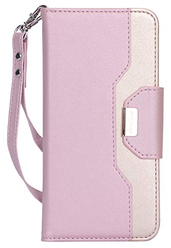 ProCase Galaxy A50 Wallet Case 2019, Flip Fold Kickstand Case with Card Holders Mirror Wristlet, Folding Stand Protective Book Case Cover for Galaxy A50 2019 Release -Pink (Flip Fold Wallet)