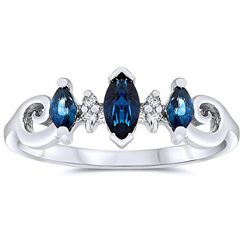 10k White Gold Marquise Blue Sapphire and Diamond Three Stone Promise Ring, Birthstone of September ()