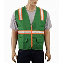 Safety Depot Two Tone Reflective Surveyor Safety Vest with Zipper and Pockets Hi-Vis for 8038A-GR (Green, Extra Large)