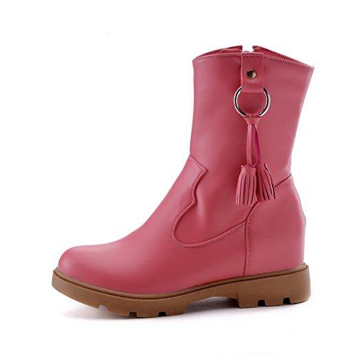 VogueZone009 Damen PU Reißverschluss Rund Zehe Niedriger Absatz Stiefel Pink